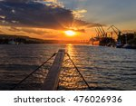 sunset on the seaport | Shutterstock . vector #476026936