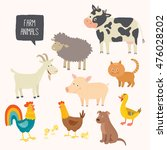 set of cute farm animals.... | Shutterstock .eps vector #476028202
