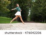 young happy brunette woman in... | Shutterstock . vector #476042206