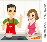 cute young couple cooking a... | Shutterstock .eps vector #476046292