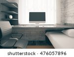 front view workplace with empty ... | Shutterstock . vector #476057896