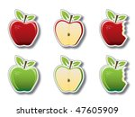 set of apple sticker icons. | Shutterstock .eps vector #47605909