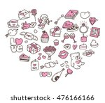 set of valentine icon doodle in ... | Shutterstock .eps vector #476166166