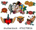 thai old school tattoo vector... | Shutterstock .eps vector #476170816