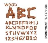 wood font. old boards alphabet. ... | Shutterstock . vector #476171908