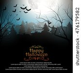 halloween background with... | Shutterstock . vector #476179582
