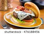 homemade beef burger with blue... | Shutterstock . vector #476188456