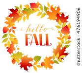 wreath of autumn colorful ... | Shutterstock .eps vector #476194906
