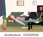 tired woman fall asleep | Shutterstock .eps vector #476209426