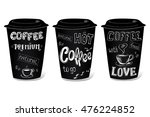 black coffee cup covered with... | Shutterstock .eps vector #476224852
