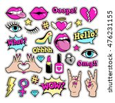 fashion patch badges with lips  ... | Shutterstock .eps vector #476231155