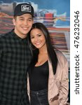"Small photo of LOS ANGELES, CA. July 9, 2016: Singer Austin Mahone & girlfriend Katya Henry at the Los Angeles premiere of ""Ghostbusters"" at the TCL Chinese Theatre, Hollywood."
