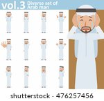 diverse set of arab man on... | Shutterstock .eps vector #476257456