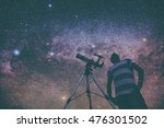 Man Looking Stars Telescope Beside - Fine Art prints