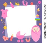 frame with baby girl elements | Shutterstock .eps vector #476349022