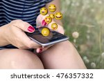 sitting woman sending emoji... | Shutterstock . vector #476357332