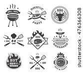 barbecue and grill labels set.... | Shutterstock .eps vector #476366308