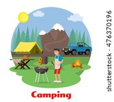 camping and outdoor recreation... | Shutterstock .eps vector #476370196