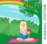 a mother reading a book with... | Shutterstock . vector #476373238