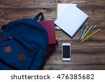 books   blue backpack  ... | Shutterstock . vector #476385682