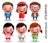 kids vector characters boys and ... | Shutterstock .eps vector #476389456