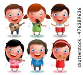 kids vector characters playing...   Shutterstock .eps vector #476389636