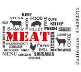 meat. text set of butcher | Shutterstock .eps vector #476393212