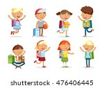 pupils with school backpacks.... | Shutterstock .eps vector #476406445