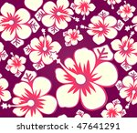 Hibiscus flower japanese seamless pattern - stock vector
