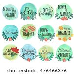 drawn icon set with flowers... | Shutterstock .eps vector #476466376