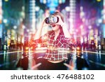double exposure  young girl... | Shutterstock . vector #476488102