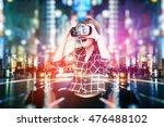 double exposure  young girl... | Shutterstock . vector #476488102