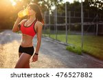 of healthy fitness girl... | Shutterstock . vector #476527882