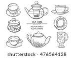 glass tea set sketch | Shutterstock .eps vector #476564128