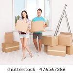 portrait of happy couple in new ... | Shutterstock . vector #476567386