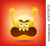 yellow round angry smiley face. ... | Shutterstock .eps vector #476572972