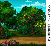 a garden with ripe fruit.... | Shutterstock .eps vector #476573506