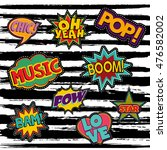 set of pop art text stickers or ... | Shutterstock .eps vector #476582002