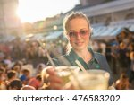 beautiful young girl toasting... | Shutterstock . vector #476583202