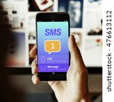 Small photo of Messaging Communication Notification Alert Reminder Concept