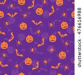 seamless violet halloween... | Shutterstock . vector #476616988