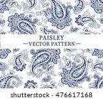 Blue vector paisley pattern.
