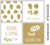 gold autumn leaves set. gold... | Shutterstock .eps vector #476622628