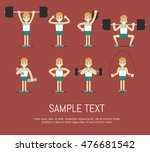 athletic young man with barbell ... | Shutterstock .eps vector #476681542