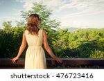 young woman in summer dress... | Shutterstock . vector #476723416