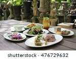 set menu for lunch served with... | Shutterstock . vector #476729632
