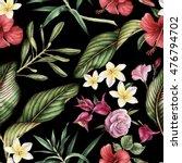 Stock photo seamless tropical flower pattern 476794702