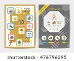 birthday icons set with long...