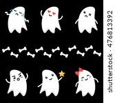 cute little cartoon ghosts... | Shutterstock .eps vector #476813392