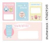 owl invitation cards. baby... | Shutterstock .eps vector #476829145
